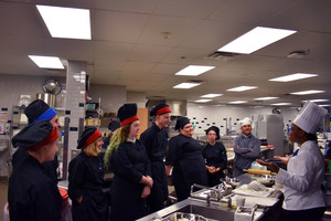 Culinary Institute of America chef provides information,  cooks with Herkimer BOCES Culinary Hospitality students