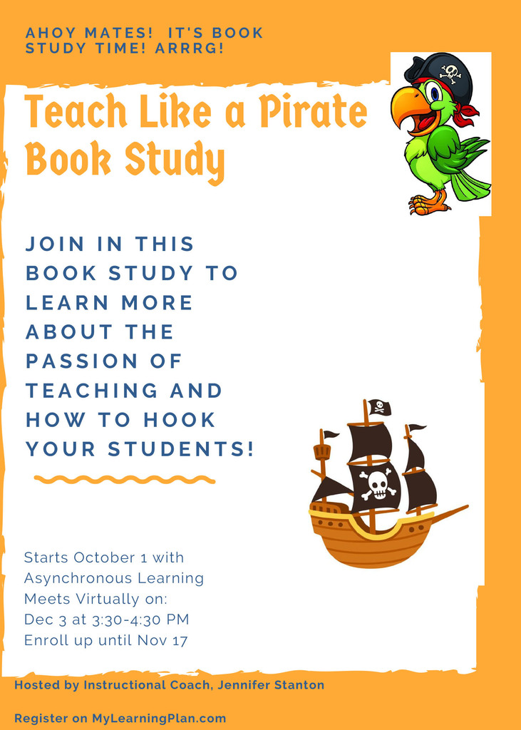 A pirate ship, parrot and info about a Teach Like a Pirate Book Study