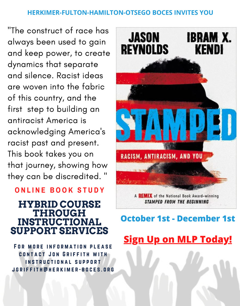 "Image of the book ""Stamped"" and information about an online book study"