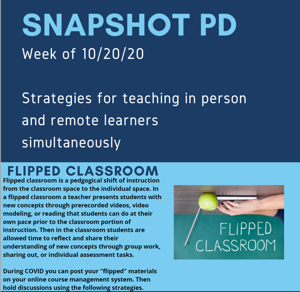 Snapshot Professional Development for the week of Oct. 19, 2020, part 1