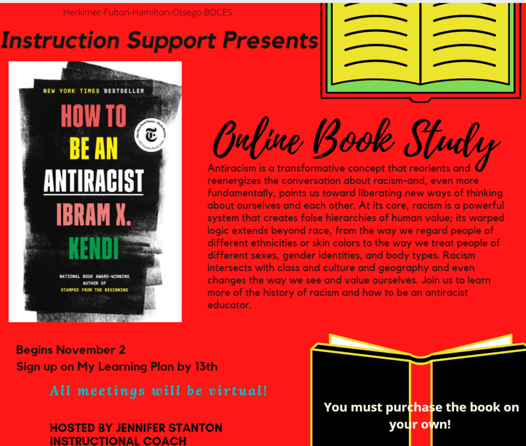 Professional Development How to be an Antiracist online book study infographic