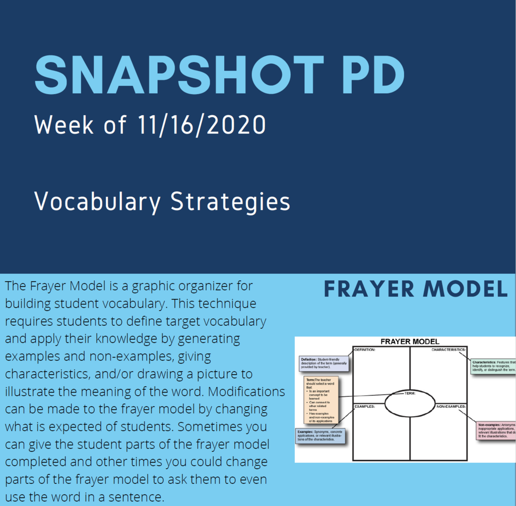 Infographic of Snapshot Professional Development for the week