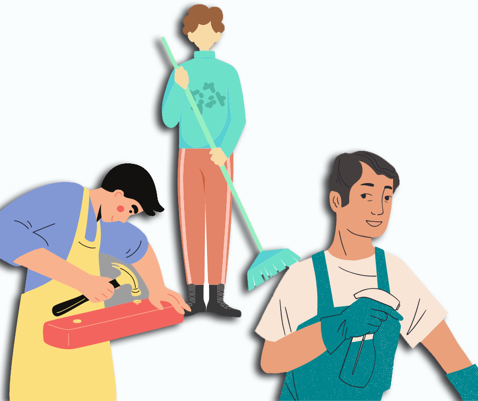 Illustrated images of people hammering and cleaning
