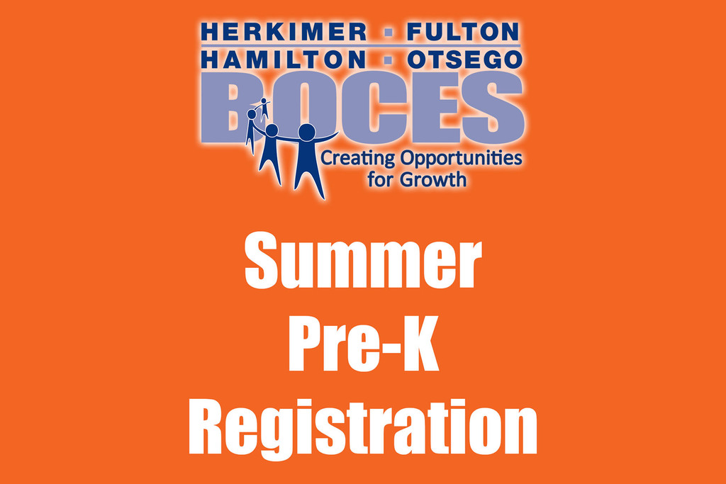 Orange background with BOCES logo and the words summer pre-k registration