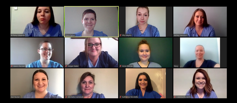 Screenshot of a Zoom call with LPN part-time evening students
