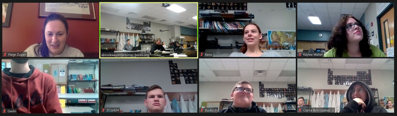 Edited screenshot of a Zoom call with Paige Zupan and VP-TECH students